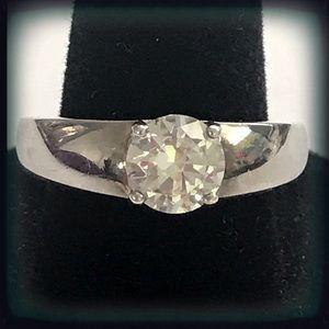 1 CT Diamonique CZ Sterling Silver Solitaire Ring